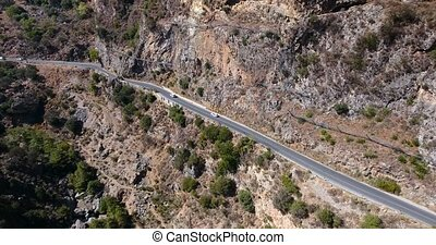 road in mountains at crete Greece - road through gorge in...