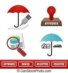 Full Color Home and Auto Insurance Icons Isolated on a solid...