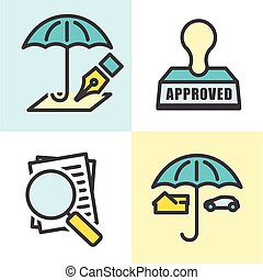 Outline Home and Auto Insurance Icons Isolated on a solid...