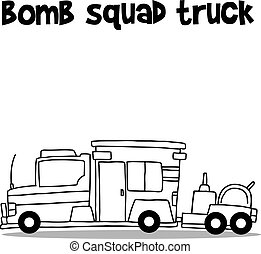 Hand draw of bomb squad truck vector illustration