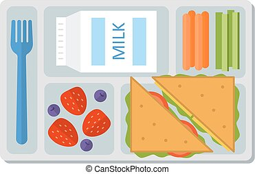 School lunch in flat style - School lunch with a sandwich,...