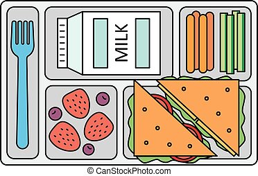 School lunch in line style - School lunch with a sandwich,...