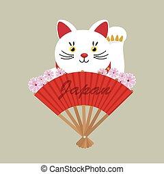japanese culture cat lucky vector illustration design
