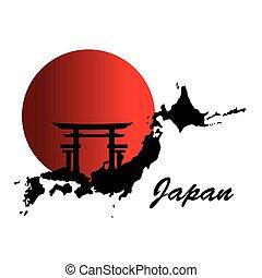 japanese culture map poster vector illustration design