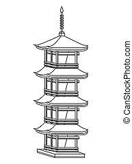 japanese culture architecture icon vector illustration...