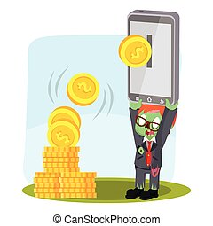 zombie businessman ebanking color