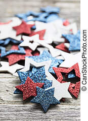 Red White and Blue Star Decorations - Pile of red white and...