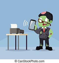 zombie businessman smartphone mobile payment device