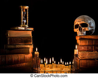 Halloween border 1 - Halloween border with skull, ancient...