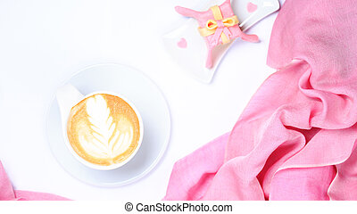 Coffee with pink scarf. Valentines concept. White...
