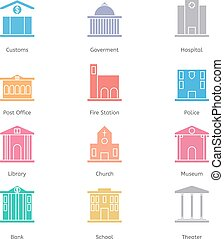 Government building icons set of police museum library...