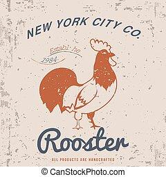 Vintage Rooster Illustration. T-shirt Design. Vector