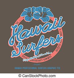 Surfing t-shirt print. Hibiscus Flower. Vector