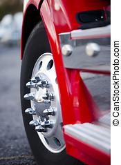 Big wheel aluminum reflection bolts rims red semi truck -...