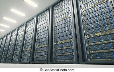 Server Room Data Center - 3D illustration, server room in an...