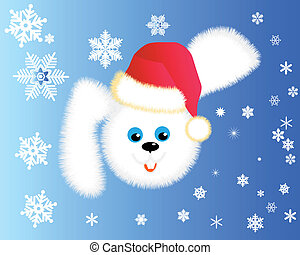 Fluffy rabbit in a red cap with snowflakes on a blue...