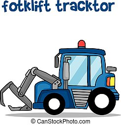 Forklift tracktor vector art illustration collection stock