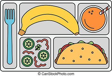 School lunch in line style - School lunch with tacos,...