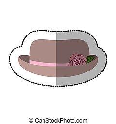sticker lace hat roses cloche retro design vector...
