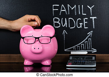 The Family Budget Concept In Front Of Blackboard - A Person...