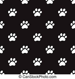 Seamless dog paw pattern on black