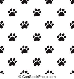 Seamless dog paw pattern on white