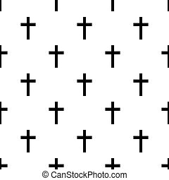 Seamless religious cross pattern on white background