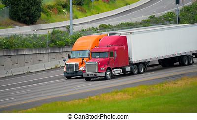 Manejar, Camiones, semi, juntos, remolques, carretera,...