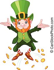 Happy Leprechaun - Illustration of joyful jumping leprechaun