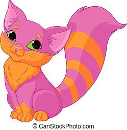 Pink Kitty - Illustration of very cute pink kitty