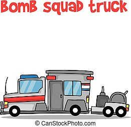 Bomb squad truck cartoon vector art collection