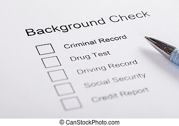 Close-up Of Background Check Form