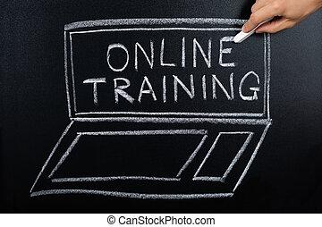 Online Training Program Written On Blackboard