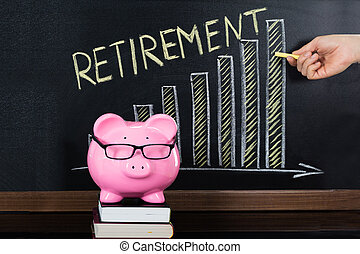 Retirement Saving Concept On Blackboard