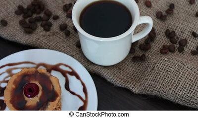 Chocolate Pancake on a white saucer - Chocolate Pancake on a...