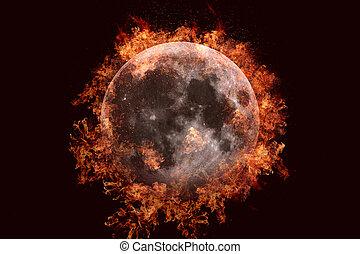 Planet in fire - Moon. Science fiction art.