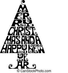 Christmas tree - Calligraphic christmas tree, vector