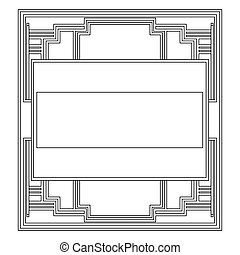 grayscale pattern with art deco frame