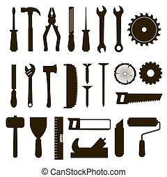 Set of icon tools black color for carpentry service, repair...