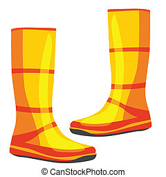 isolated rubber boots