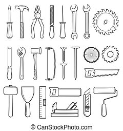 Set of icon tools line style for carpentry service, repair...