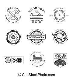 Set of carpentry service, sawmill and woodwork labels...