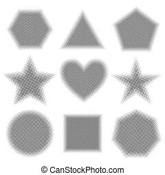 Grey geometric shapes with halftone effect, vector illustration.