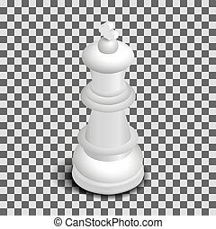 White king chess piece isometric, vector illustration.