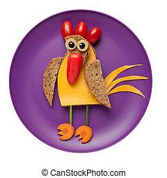 queso, hecho,  bread, placa, vegetales, confuso, gallo