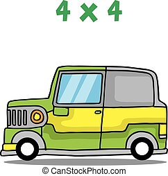 Green jeep transport collection vector