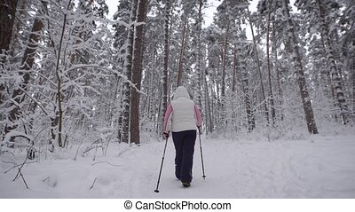 Rear view of an elderly woman who is engaged in Nordic walking on a snowy path in the woods. The modern form  sports exercises outdoors.