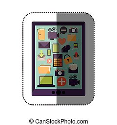 color sticker with tablet with screen icons