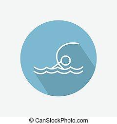 Swimmer icon vector - Swimmer sportsman in the sea icon...