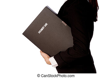 document case - The office worker holds the document case in...